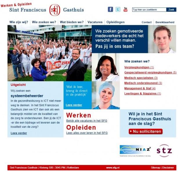 Homepage recruitmentsite Sint Franciscus Ziekenhuis