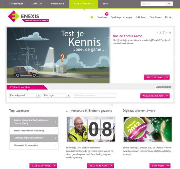 Homepage van de recruitmentsite van Enexis
