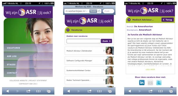 Mobiele recruitmentsite van ASR